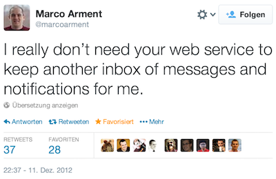 Tweet by Marco Arment